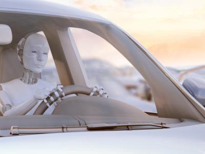 Robot achter stuur van wagen. IntoLaw verduidelijkt hoe autonome wagens zware verkeersovertredingen tegengaan.